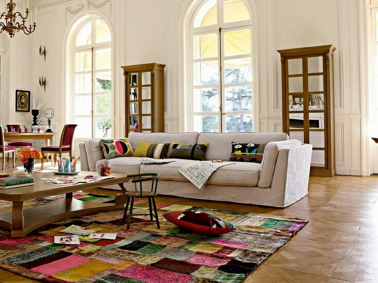 vision d co by sofia chez roche bobois tapis patchwork. Black Bedroom Furniture Sets. Home Design Ideas