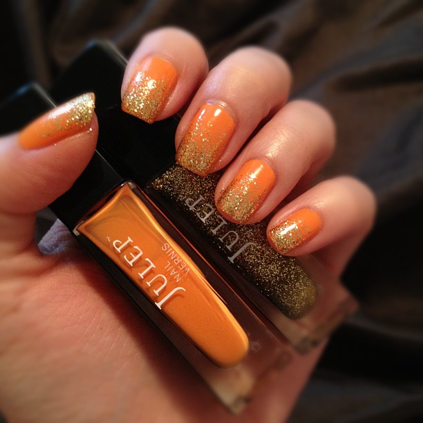 Everything LePooke: Nail of the Day: Orange with Ombre Gold glitter