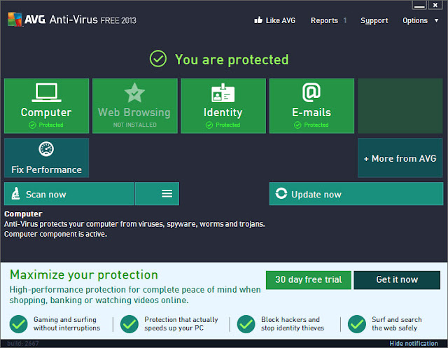 AVG Antivirus Free Edition 2013 - Interface