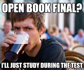 Open book. Study. Meme. Finals.