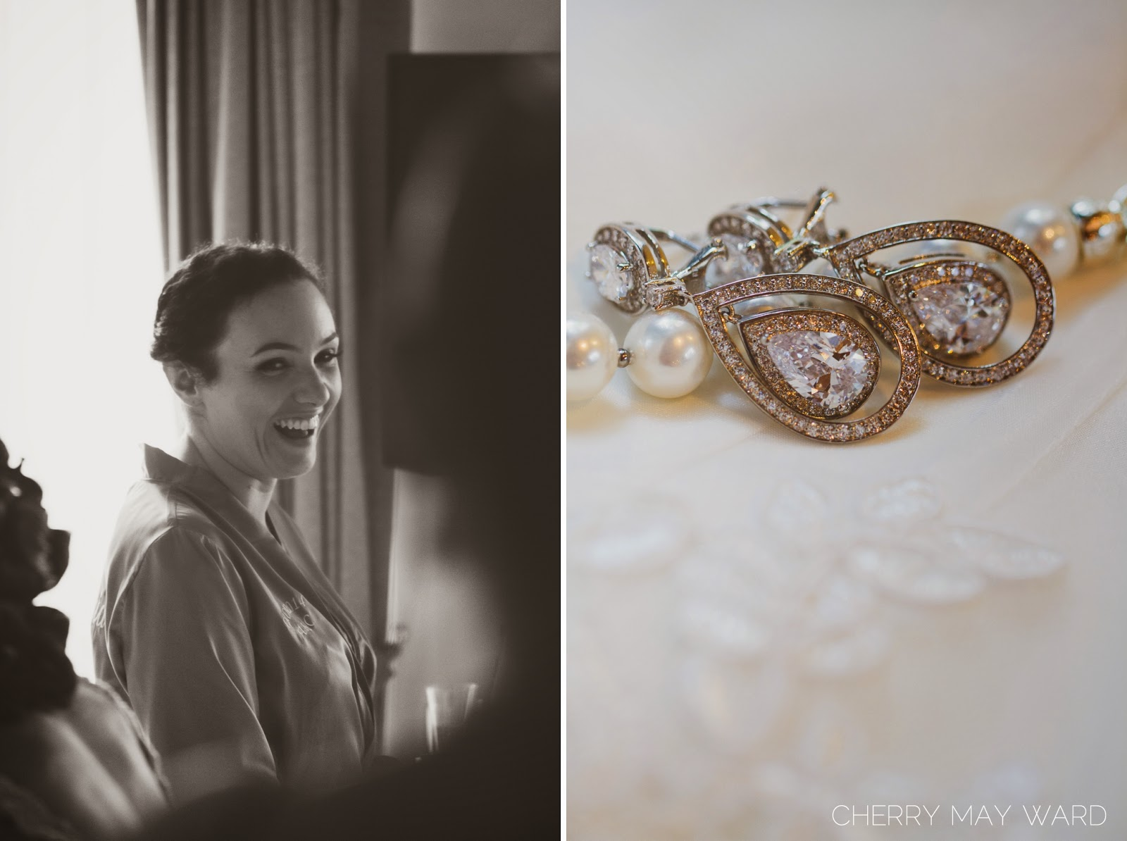 beautiful bridal wedding earrings, brides wedding jewellery, beautiful jewellery, happy bridesmaid, bridesmaid laughing, gorgeous brides maid, Koh Samui, Thailand