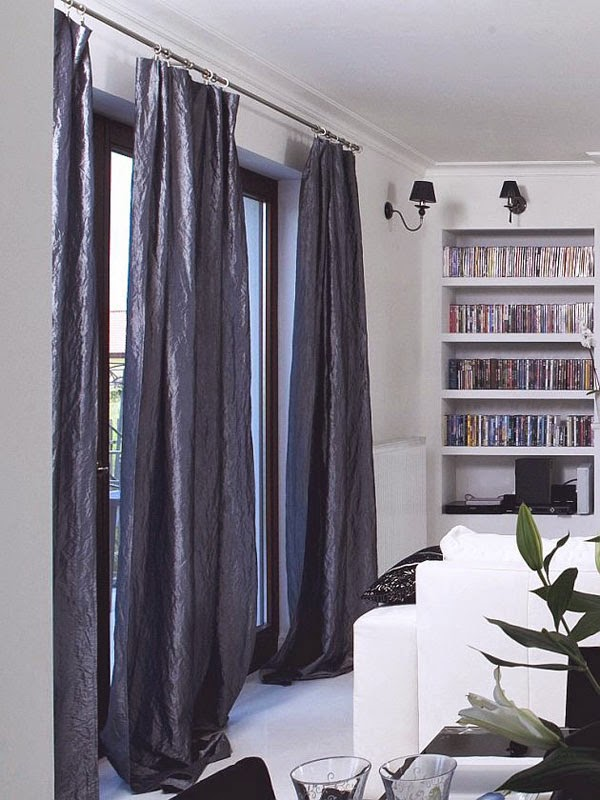 Blue Curtains in living room