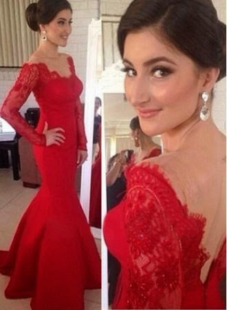 2015 Sexy Red Long Sleeves Prom Gown, Mermaid Evening Dress