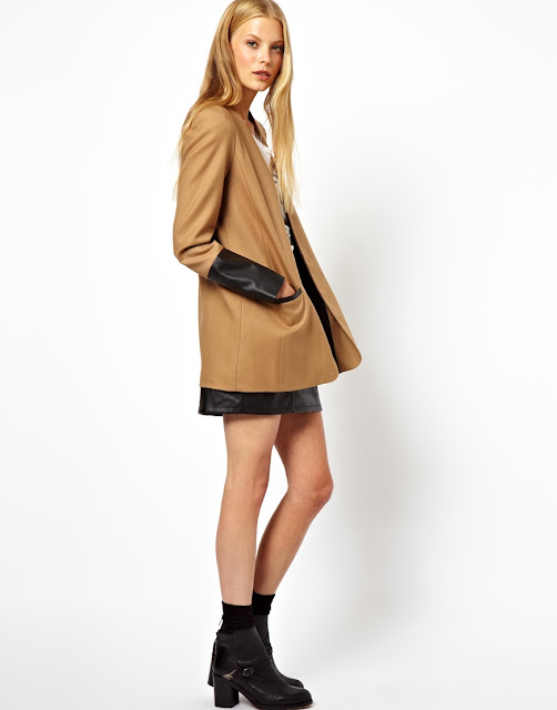 coat with contrast sleeves