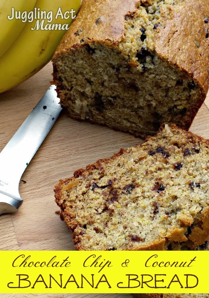 Chocolate Chip & Coconut Banana Bread - Juggling Act Mama