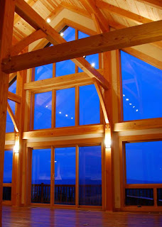timber frame with sconces