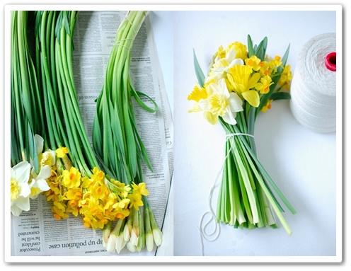 daffodils bouquet, bukett påskliljor, påskliljor som snittblomma