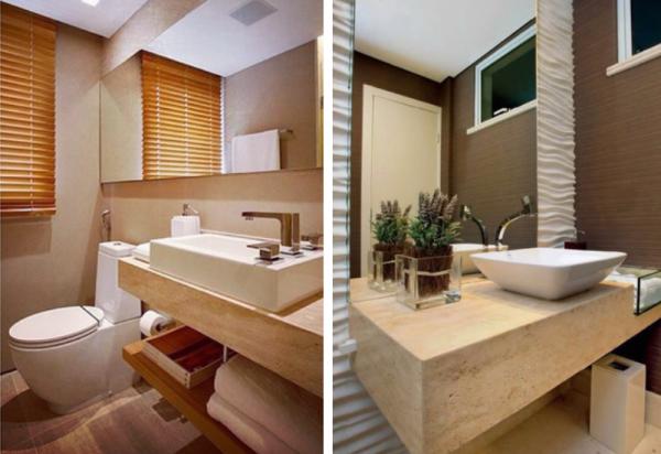 Construindo Minha Casa Clean 20 Banheiros com Bancadas Bege  Veja Dicas e I -> Pia Banheiro Travertino