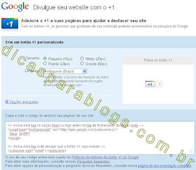 botão +1 do Google no blog