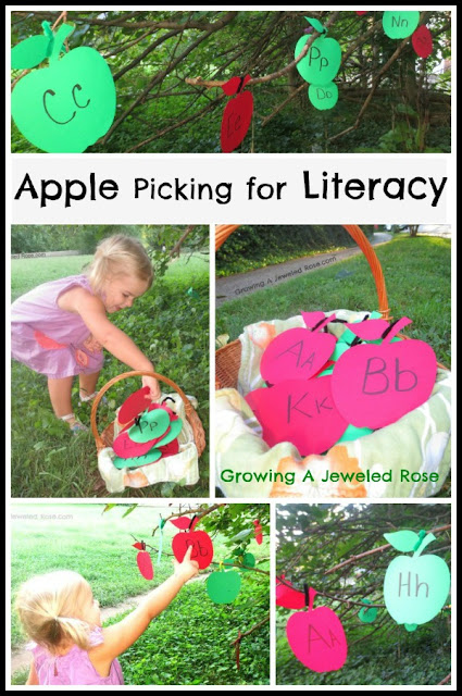 apple picking for literacy Fall activity