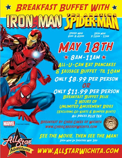 All Star Wichita Breakfast Buffet with Spider-Man and Iron Man on May 18, 2013