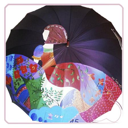 Paraguas modelo Menina pintado a mano de El Jardín del Edén por Sylvia Lopez Morant.