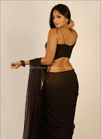 Anushka, shetty, navel, show, in, transparent, saree