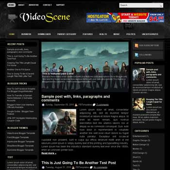 VideoScene blog template. download video blogger template. blogspot template for video blog