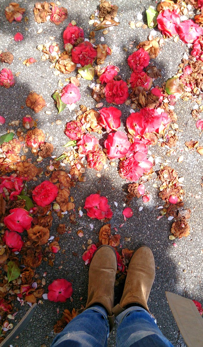 taking-stock-flower-petals-underneath-feet-suede-boots-todaymyway-blog