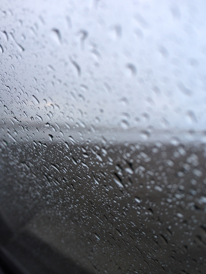 rainy beach through the window