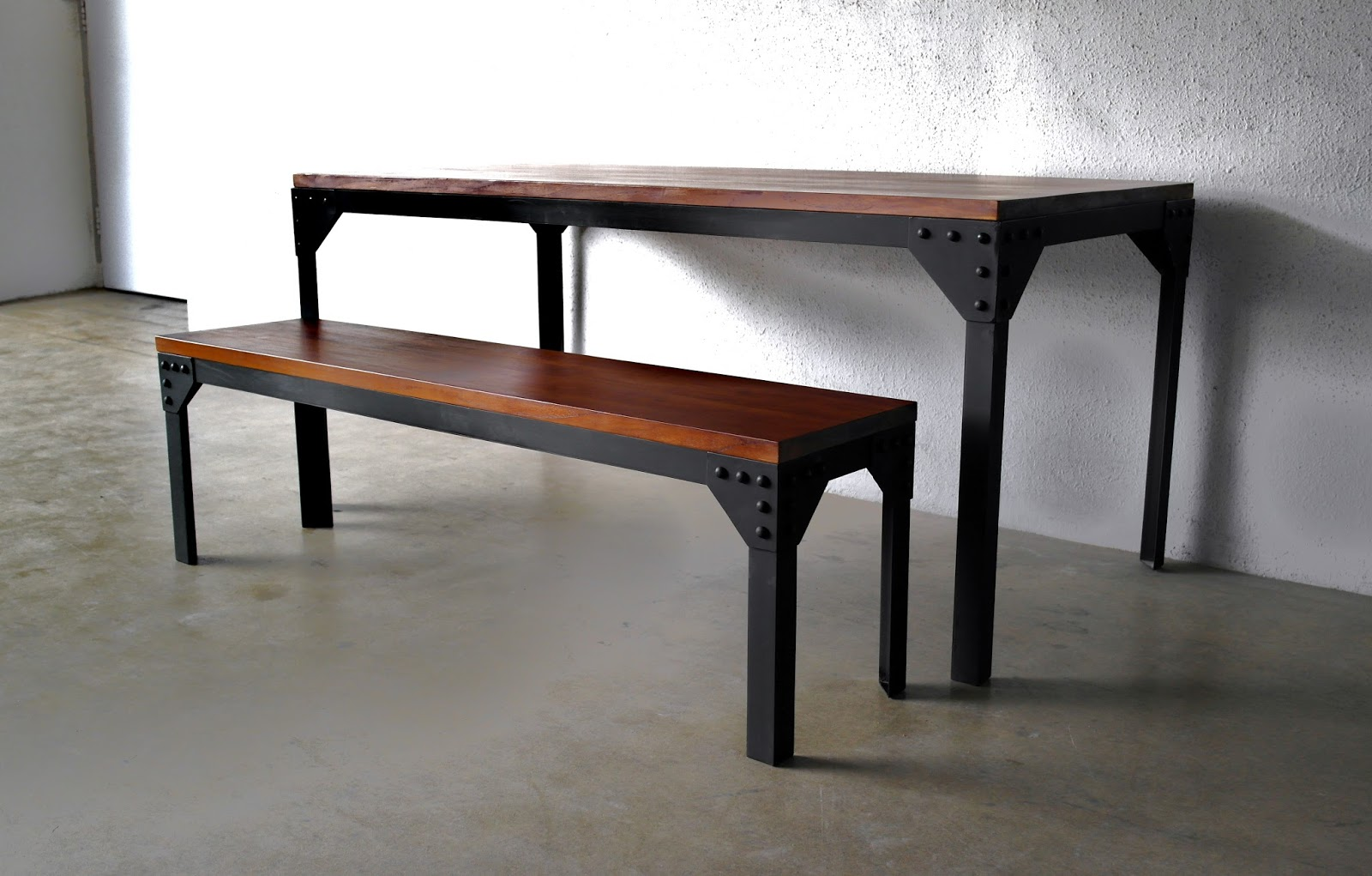 another industrial design dining tables and matching bench