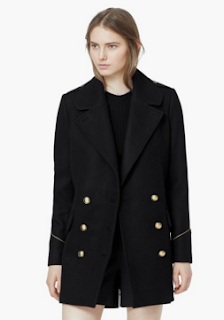Manteau pas cher Caban style Navy Marin Mango automne-hiver