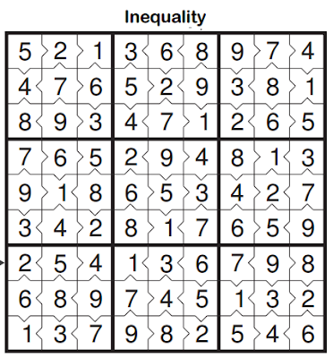 Inequality Sudoku (Fun With Sudoku #40) Solution