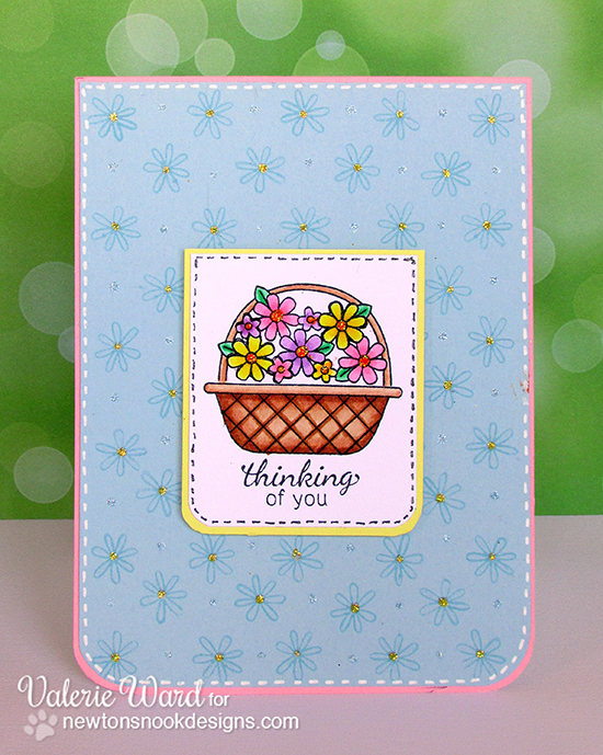 Basket of Flowers card by Valerie Ward for Newton's Nook Designs