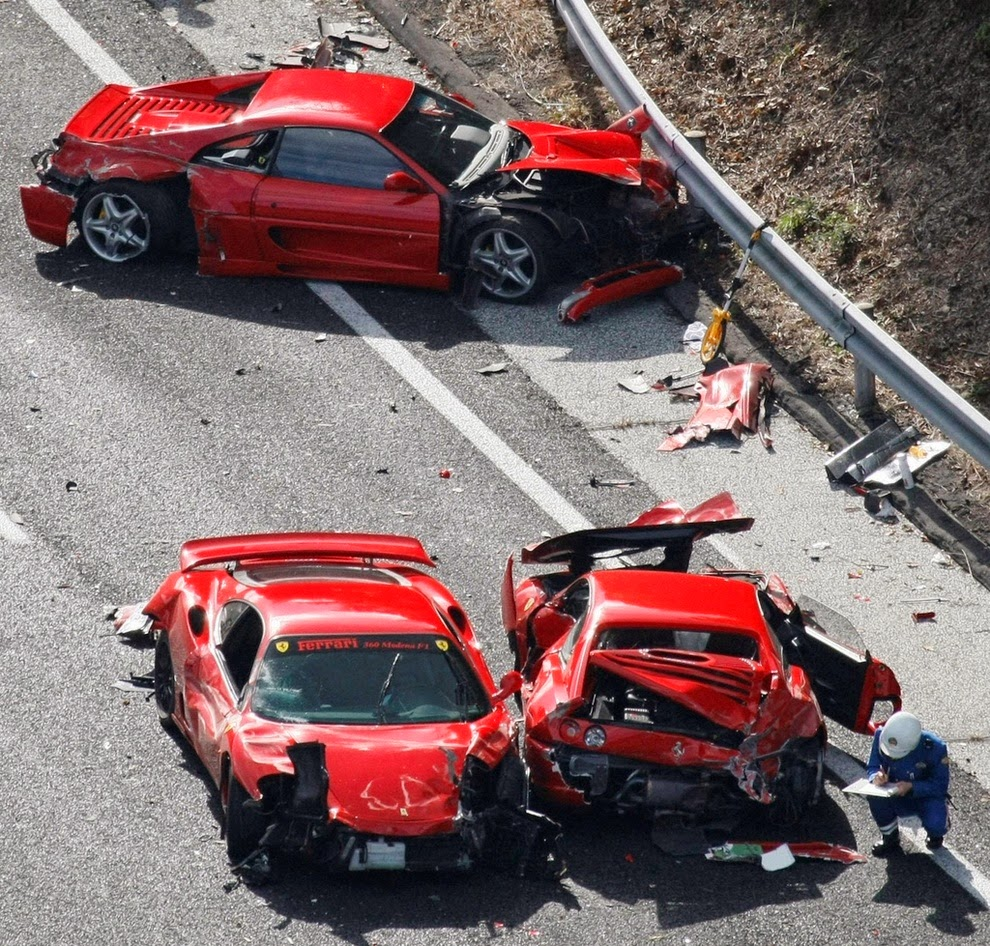 Car Crash, Cars, Ferrari, Japan, Lamborghini, Mercedes Benz, Most Expensive Accident, News, Road Accident, Sports Car, Supercars,
