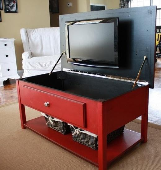TV hidden in low cabinet