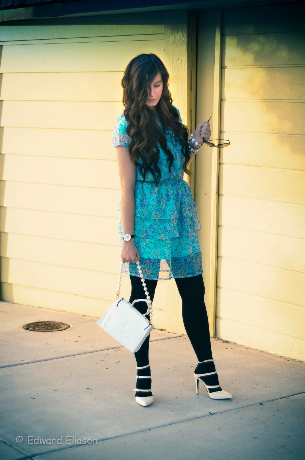 the girl that loves, mint dress, candy colored dress, holiday bvld, heels, pointed heels, ami clubwear, ami clubwear heels, blue dress,