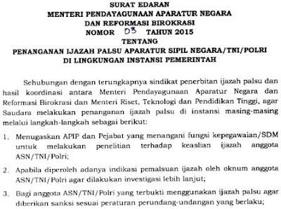 gambar surat edaran menpanrb nomor 3 2015