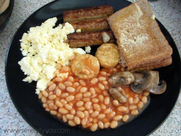 healthy vegetarian fried breakfast