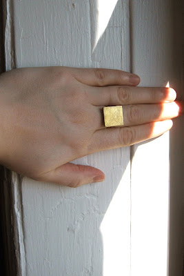 brass square geometric ring