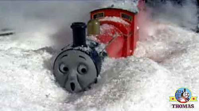 Crashed cold and stuck in a deep snow drifted off the frosty railway track James the train cried out