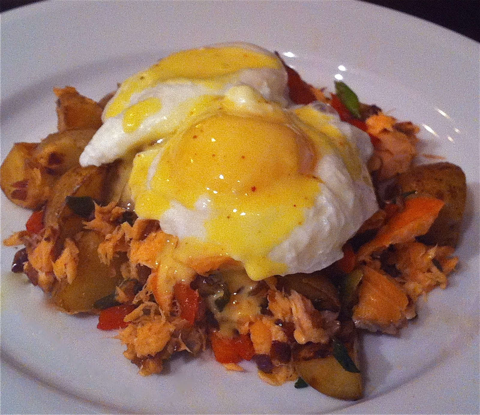 The Charitable Chef: Smoked Salmon Hash with Poached Eggs and Piment d ...