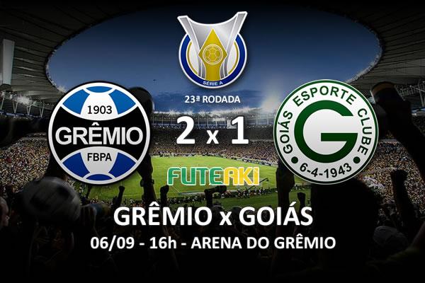 Veja o resumo da partida com os gols e os melhores momentos de Grêmio 2x1 Goiás pela 23ª rodada do Brasileirão 2015.