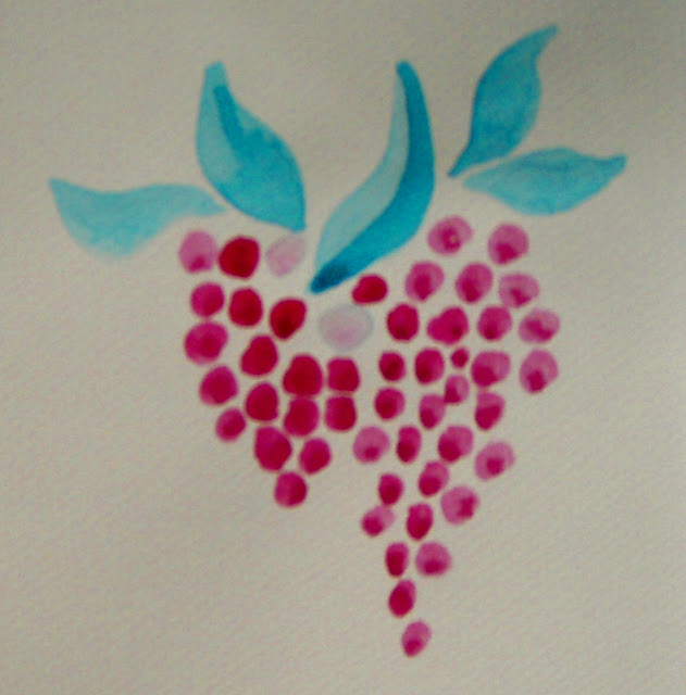 grapes watercolour drawing