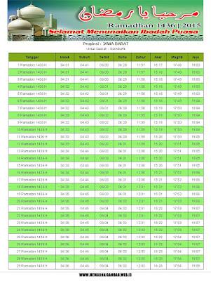 Jadwal Imsakiyah Sukabumi Tahun 2015 (1436 H)