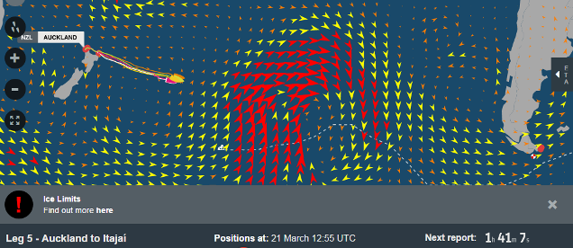 Screenshot: VOR fleet heading into high winds (red arrows), seas, and ice limits