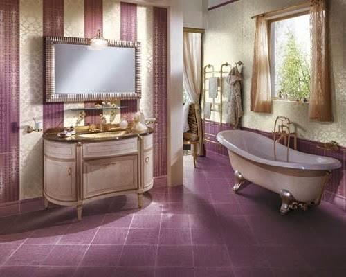 Azulejos Para Baño Color Lila:Baño estilo clásico decorado con azulejos lilas en paredes, techo y