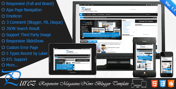 Purez - Responsive Magazine Blogger Template Free Download