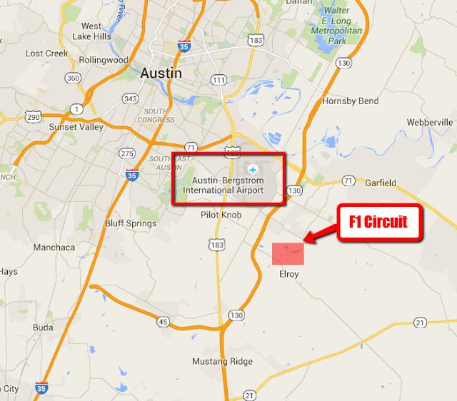 USA Circuit Map Location F1 GP 2015 for www.Formula1Race.co.uk courtesy Google Maps