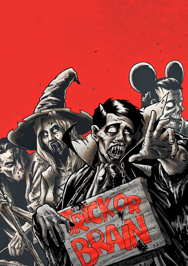 zombie sketch ink black and white halloween cover colors