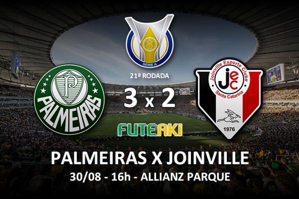 Veja o resumo da partida com os gols e os melhores momentos de Palmeiras 3x2 Joinville pela 21ª rodada do Brasileirão 2015.