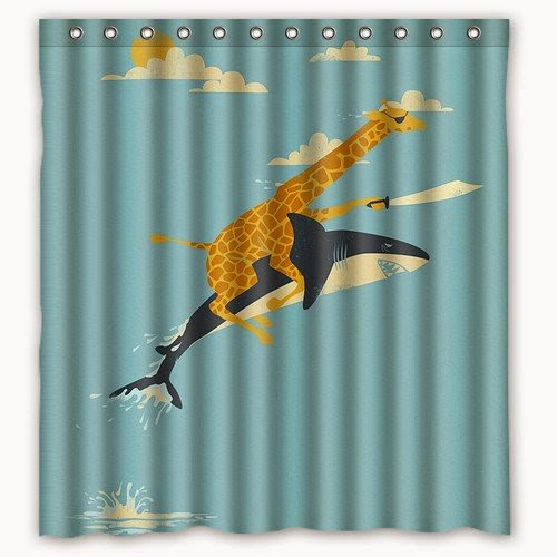 Superieur Giraffe Pirate Riding A Shark Shower Curtain