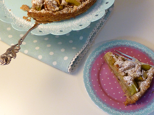 Rhabarber-Streuselkuchen vegan Holunderweg 18 Foodblog Blog