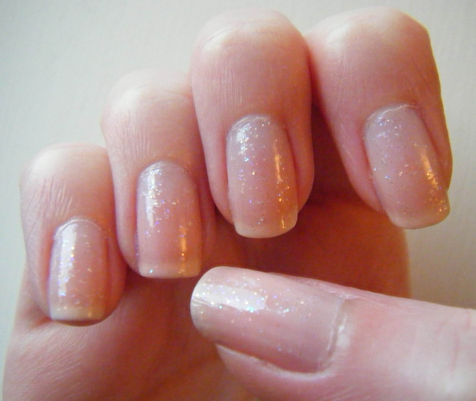 caz 'n' polish | sparkly nude nails