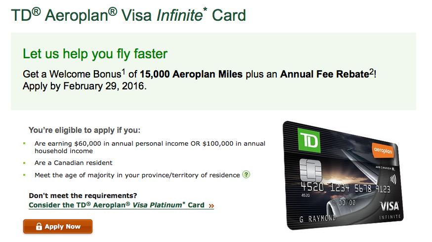 Rewards Canada New Td Aeroplan Visa Infinite Card Offer 15000