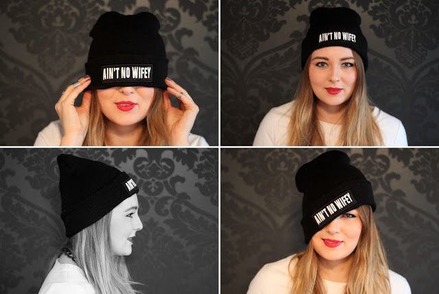 Ain't no wifey, cara delevigne, cap, beanie, mütze, hpster, firmoo, glasses, nerd, leather top, fashion blogger, modeblogger, black, geek,  mustache, letter beanie, statement,