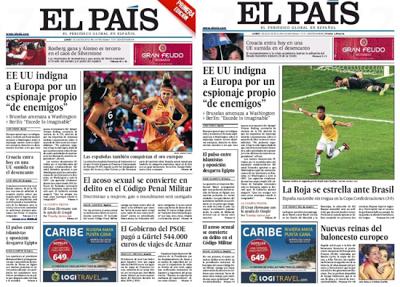 El País incluía la foto de la selección femenina de baloncesto solo en su primera edición