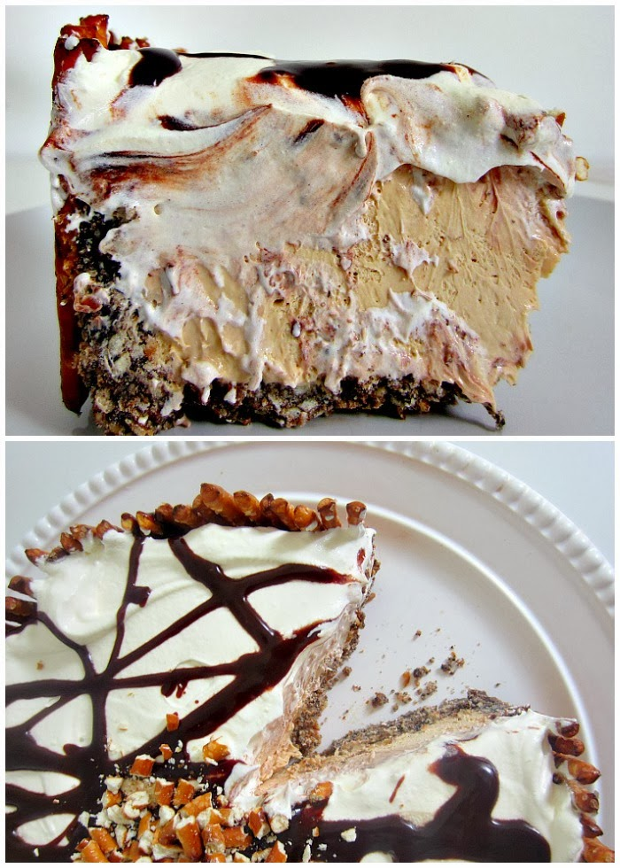 Cookie Butter Pie with Nutella Hot Fudge and Pretzel Crust