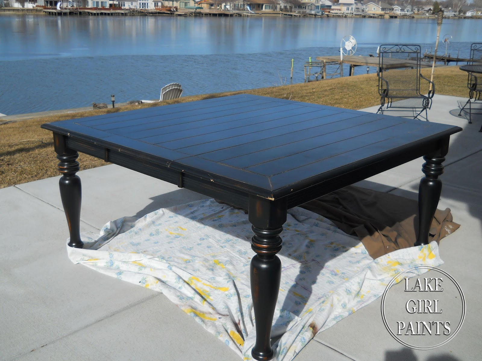 Lake Girl Paints: Dining Table -Black to Farmhouse Natural & White