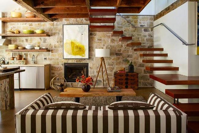Estilo rustico casa rustica de piedra y madera for Decoracion del hogar barato